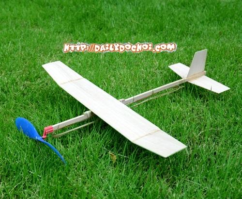 V11 máy bay cánh bằng dây chun gỗ ép mới